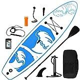 inty Aufblasbares Stand Up Paddle Board ISUP Surf Board 6 Zoll Dick Komplett-Set SUP Board, Hochdruck-Pumpe,Paddel, Rucksack, Reparaturset (weiß-blau 335cm) (weiß-blau 335cm)